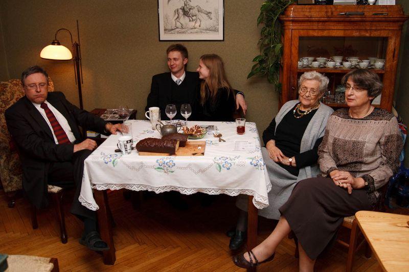 Links: nonkel Janek Jaworski, Bronek, Hanne, tante Bronisława Jaworska, Mama