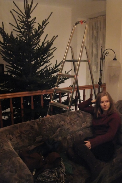 Hanne under the fresh installed tree in Lodz