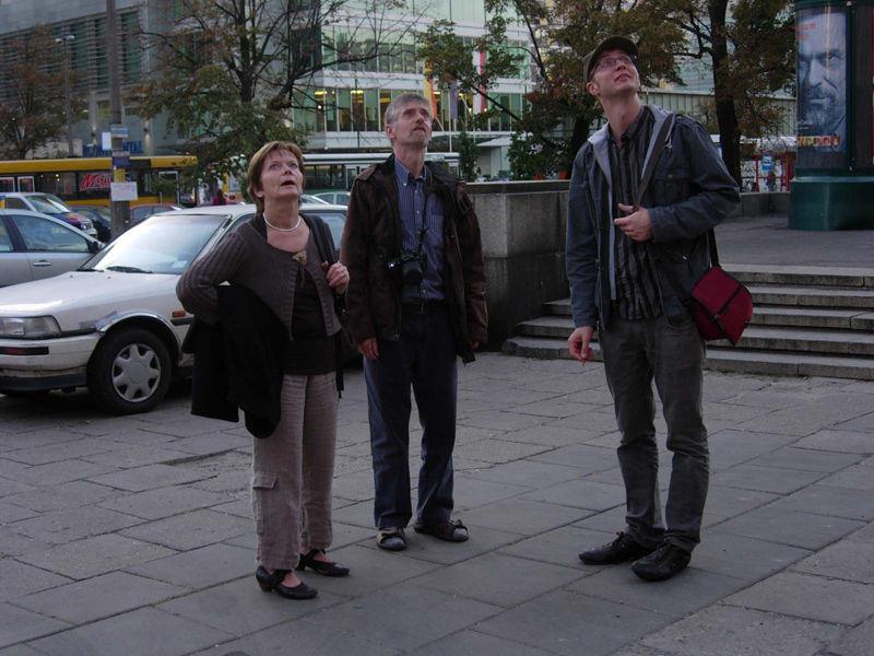 Watching Stalin building, Warszawa and listening to guide Bronek