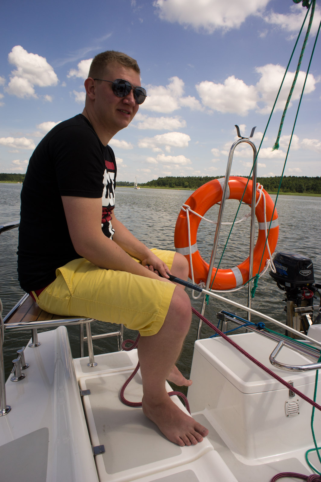 Łukasz at the helm