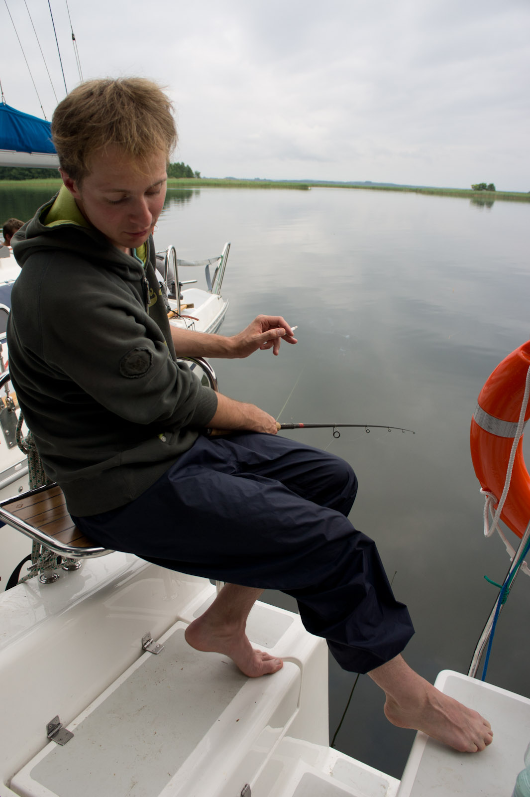 Bronek keeps feet short also during fishing
