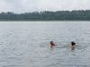 Łukasz and Paula swimming in Kaczerajno bay