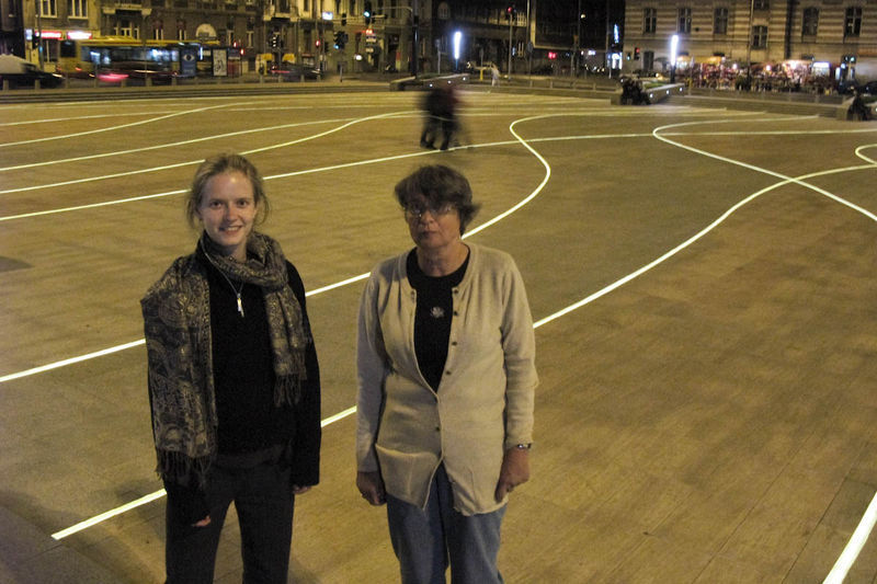 My mother and Hanne on the new DÄ…browski square