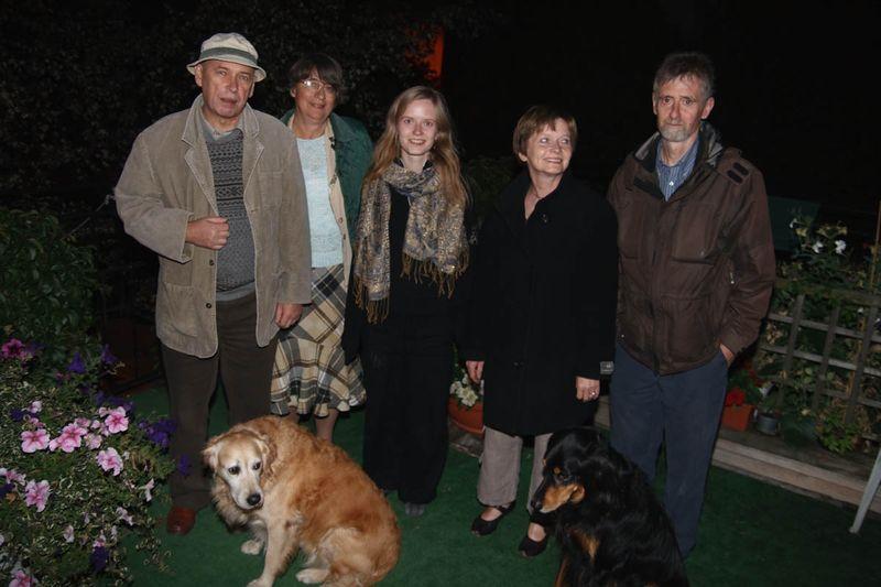 Groep foto op het terras, ik, Hanne en onze ouders