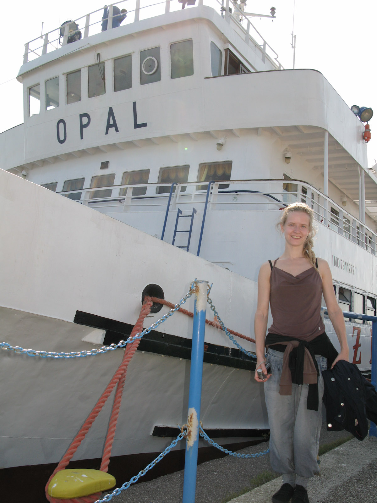 Hanne next to our ship, cruise from Gdańsk to Hel on Hel peninsula