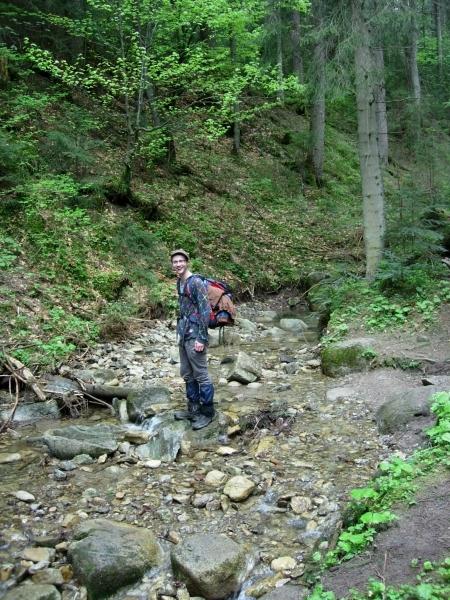 Bronek in mountain river