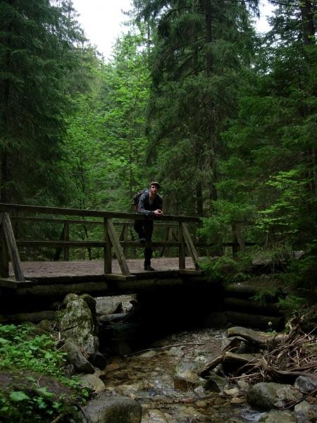 Bronek on mountain bridge