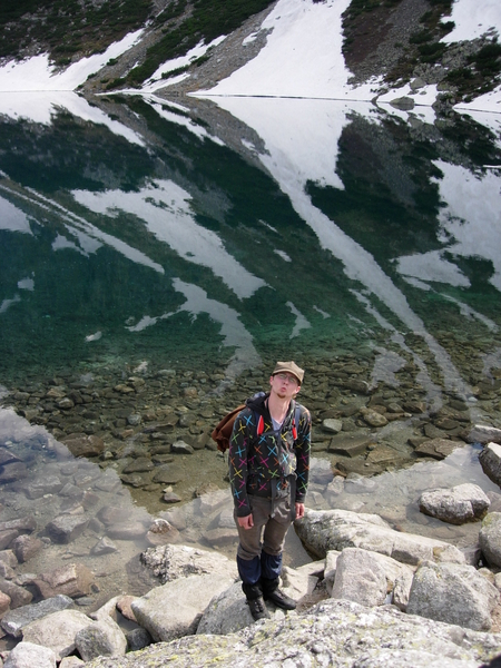 Bronek at lake in the middle of the mountains - Czarny Staw