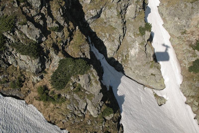 Tatra, vanuit de lift zichtbaar in de schaduw