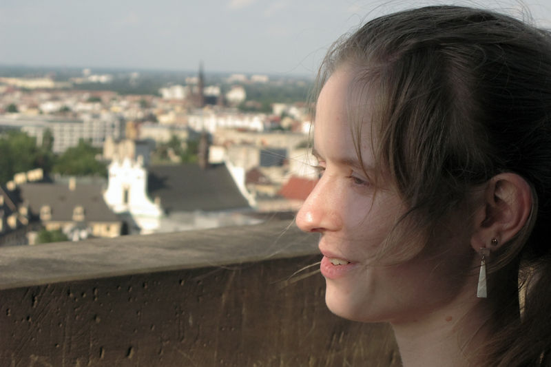 Hanne on the tower of Basilica St. Elisabeth