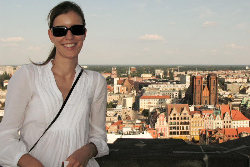 Kasia on the tower of Basilica St. Elisabeth