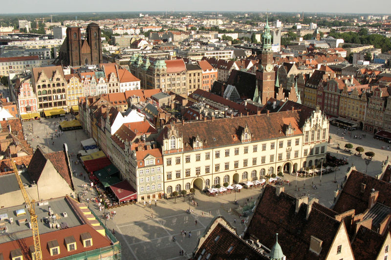 View on the main market square of Wroclaw from the tower of Basilica St. Elisabeth