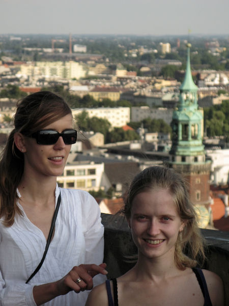 Kasia & Hanne on the tower of Basilica St. Elisabeth